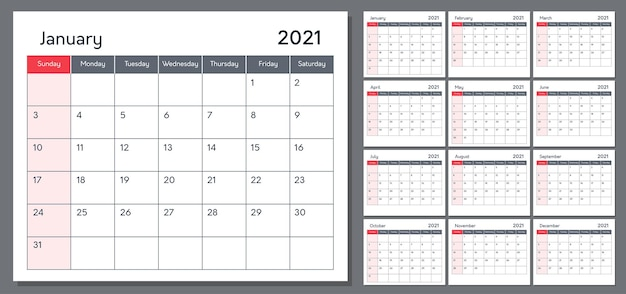 Kalender für 2021 vorlage