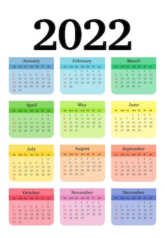 Kalender für 2022 isoliert auf weißem hintergrund. sonntag bis montag, business-vorlage. vektor-illustration