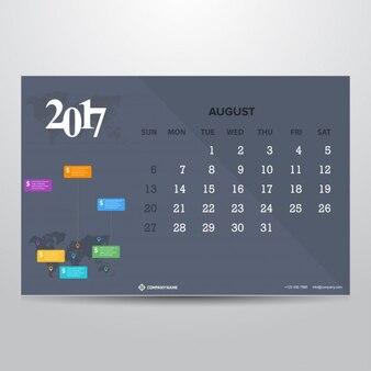 Kalender für august 2017