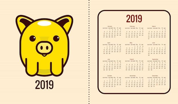 Kalender für das jahr 2019 mit dem symbol des jahres