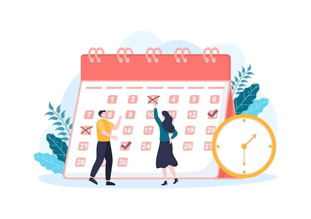Kalender-hintergrund-vektor-illustration mit kreiszeichen für die planung wichtiger angelegenheiten, zeitmanagement, arbeitsorganisation und benachrichtigung über lebensereignisse oder urlaub