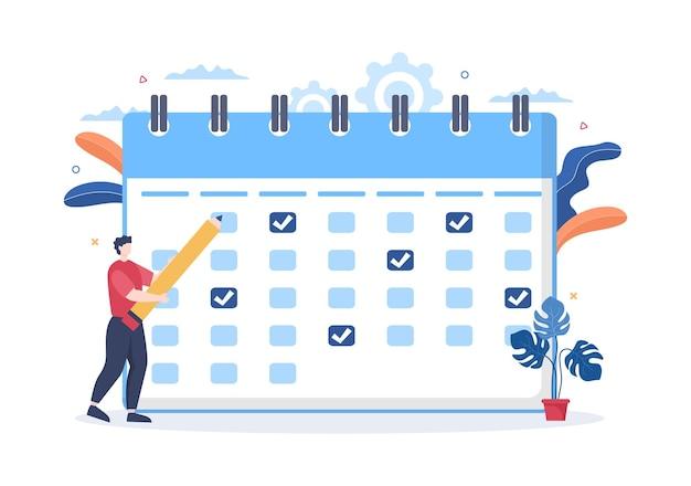 Kalender-hintergrund-vektor-illustration mit kreiszeichen für planung, zeitmanagement, arbeitsorganisation und lebensereignisse oder urlaub