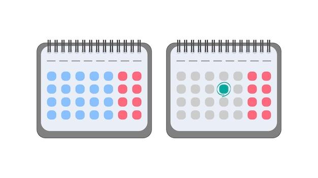 Kalender im flachen stil. kalendersymbol. isoliert.