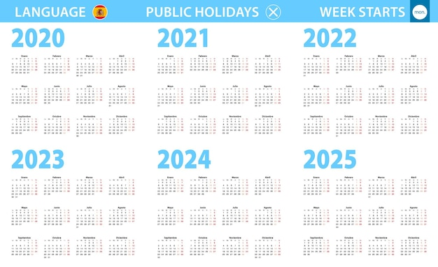 Kalender in spanischer sprache für das jahr 2020, 2021, 2022, 2023, 2024, 2025. woche beginnt am montag.