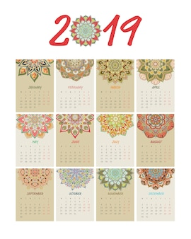 Kalender-mandala-art-gesetzter vektor 2019 des neuen jahres.