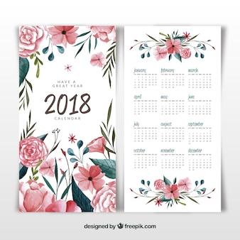 Kalender mit blumen und aquarell 2018
