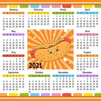 Kalender mit einem niedlichen charakter. spaß und helles design