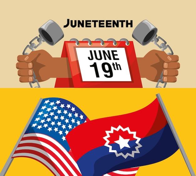 Kalender mit flaggen, um freiheit zu feiern