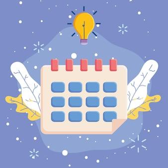 Kalender mit glühbirne
