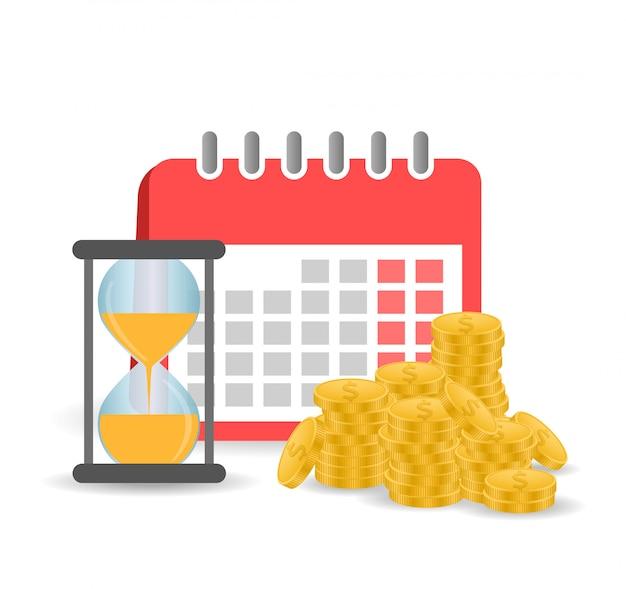 Kalender mit goldmünzen und sanduhr. das konzept der zeit ist geld. finanzkalender.