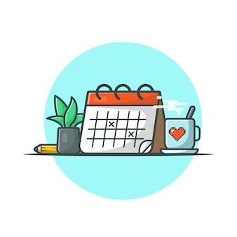 Kalender mit kaffee, pflanze und bleistift-vektor-ikonen-illustration. sparen sie das datum, das lokalisierte zeitplan-ikonen-konzept-weiß