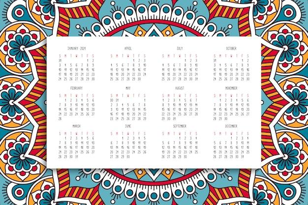 Kalender mit mandalasverzierung