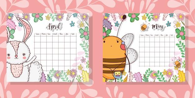 Kalender mit niedlichen tier- und blumenpflanzen