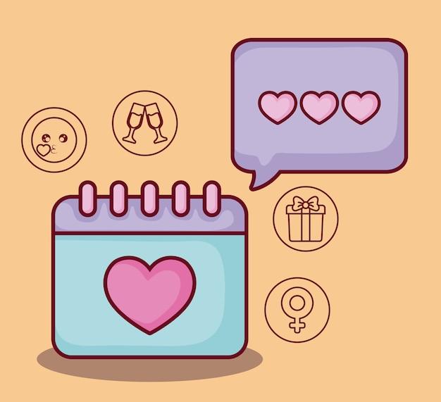 Kalender mit online-dating-verwandten symbolen