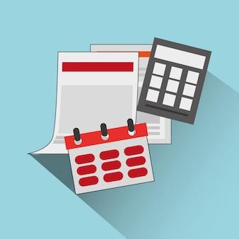 Kalender mit rechner bezogenen artikel symbol