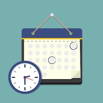 Kalender mit uhr in einem flachen stil