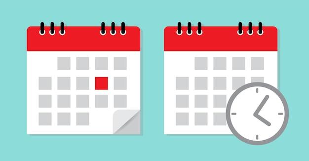 Kalender mit uhr markieren sie das datum zeitplansymbol
