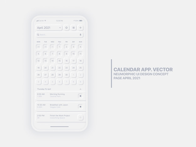 Kalender mobile app seite april 2021 jahr mit task-manager konzeptionelle benutzeroberfläche ux neumorphic design mockup
