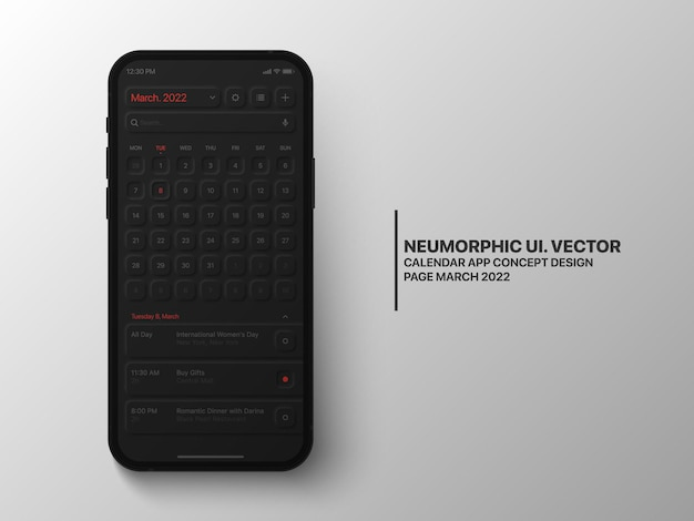 Kalender mobile app-seite märz mit task-manager konzeptionelle benutzeroberfläche ux neumorphic dark