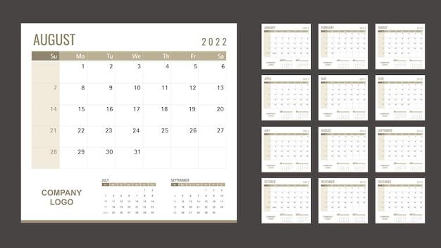 Kalender- oder planervorlage 2022 12 monate mit goldmotiv