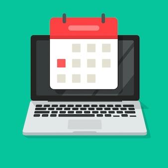 Kalender oder tagesordnung auf flacher karikatur der laptop-computer bildschirm-ikone