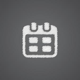 Kalender-skizze-logo-doodle-symbol auf dunklem hintergrund isoliert