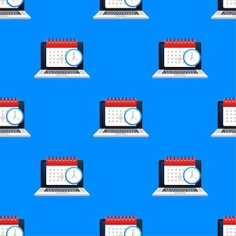Kalender und uhr auf laptop-bildschirmmuster. terminkonzepte. moderne flache design-grafikelemente. abbildung auf lager.