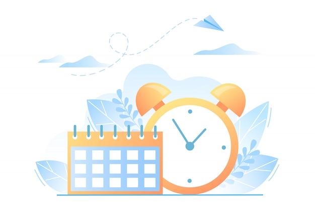 Kalender und uhr. zeitmanagementkonzept, organisation der arbeitszeit, frist. vektorillustration