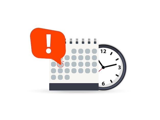 Kalender- und uhrsymbol. terminbenachrichtigung für das kalenderdatum. termin, zeitplan, wichtiger termin. zeit und datum. frist in einem kalender, ereignisbenachrichtigung. terminerinnerung auf tagesordnung geplant