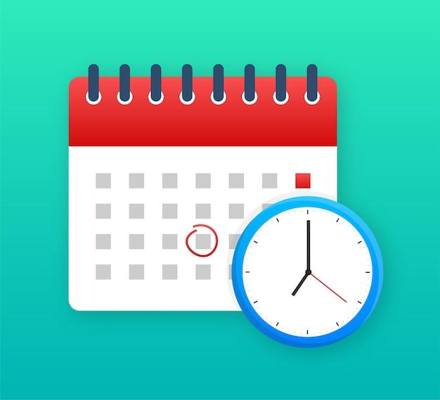 Kalender- und uhrsymbol. wandkalender. wichtig, zeitplan, termin. vektorgrafik auf lager