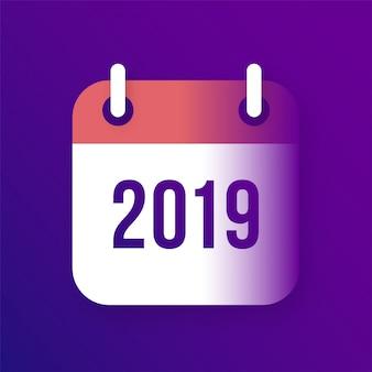 Kalender-vektor-ikone des neuen jahr-2019