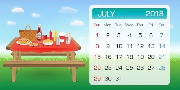 Kalender von juli probe 2018 monat thema picknick im freien