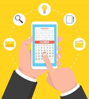 Kalender, zeitplan, erinnerung, planungs-app auf dem smartphone-bildschirm