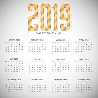 Kalenderdesign 2019 mit hellem hintergrundvektor