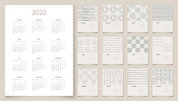 Kalenderdesign 2022 mit abstrakten künstlerischen vektorgrafiken