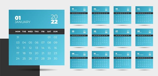 Kalenderdesign für das neue jahr 2022 im modernen stil