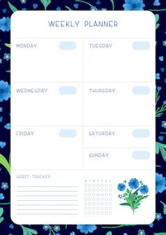 Kalenderdesign mit blumenblüten und blütenblättern. flache vorlage des wochenplans und der blauen wildblumen des gewohnheitsverfolgers.