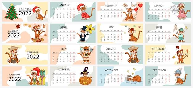 Kalenderentwurfsvorlage für 2022, das jahr des tigers nach dem chinesischen oder östlichen kalender, mit einer abbildung des tigers, 12 monate. horizontale tabelle mit kalender für 2022. vektor