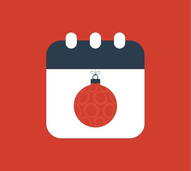 Kalenderillustration der frohen weihnachten und des guten rutsch ins neue jahr. einfaches kalendersymbol mit weihnachtskugel im flachen stil. vektor-illustration