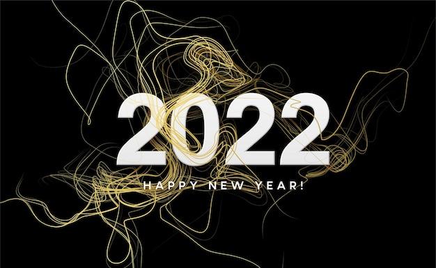 Kalenderkopf 2022 mit goldenen wellen wirbeln mit goldenen glitzern auf schwarz. frohes neues jahr 2022 goldene wellen hintergrund.