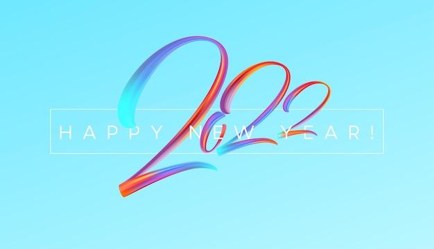 Kalenderkopfnummer 2022 auf buntem abstraktem farbpinselstrichhintergrund. frohes neues jahr 2022 bunter hintergrund. vektorillustration eps10