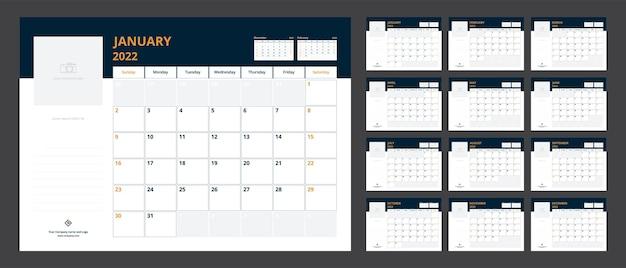 Kalenderplaner 2022 für den start der corporate-design-woche der vorlage am sonntag.