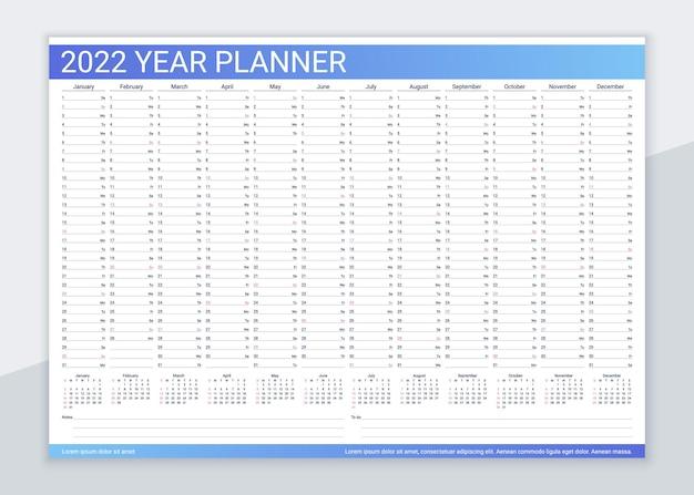 Kalenderplaner 2022 jahre. vorlage für einen schreibtischkalender. jährlicher tagesorganisator. agenda-tagebuch. woche beginnt sonntag