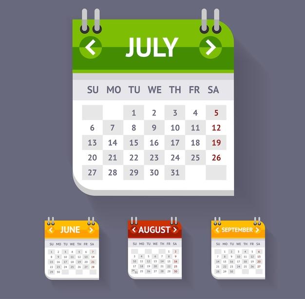 Kalendersatz lokalisiert auf grauem hintergrund.