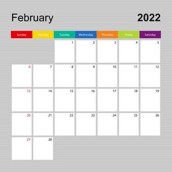 Kalenderseite februar 2022, wandplaner mit buntem design. woche beginnt am sonntag.