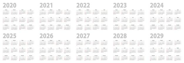 Kalenderset im grunddesign für 2020, 2021, 2022, 2023, 2024, 2025, 2026, 2027, 2028, 2029 jahre. vektorkalendersammlung für jahrzehnt in englischer sprache, woche beginnt am sonntag.