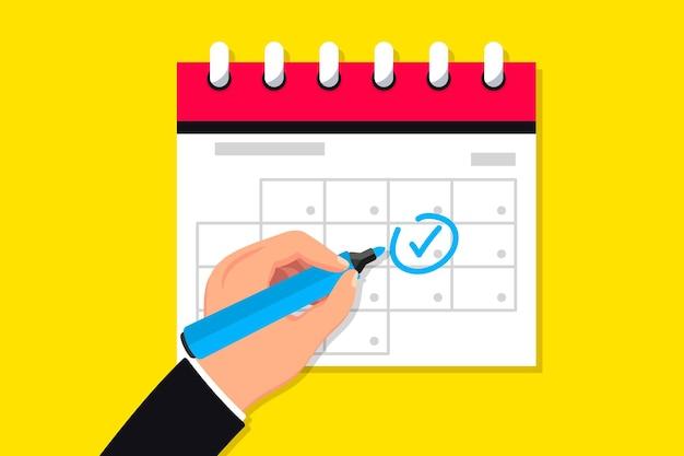 Kalendersymbol datum markieren zeitplansymbol agendasymbol für ihre app-website armmarkierungen