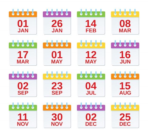 Kalendersymbol mit datumsangaben. . satz jährliche termine, jährliche ereignisschablone in der ebene. kalenderorganisatorsymbole lokalisiert. farbe abbildung. computergrafik.