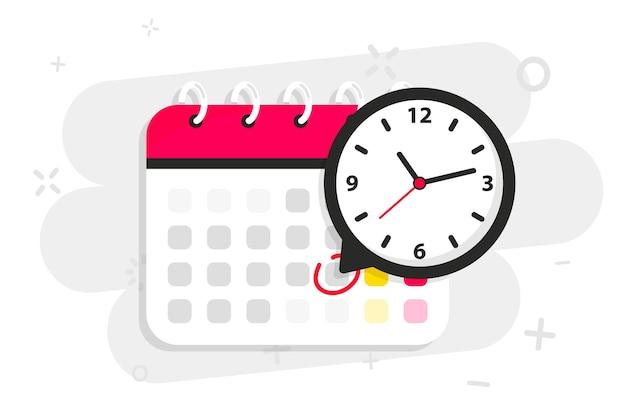 Kalendersymbol mit uhrsymbol-benachrichtigungsnachricht mit uhrzeitkalendersymbol mit ausgewähltem wichtigen tag