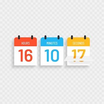 Kalenderuhrtimer mit buntem text für das kommen bald oder im bau design.